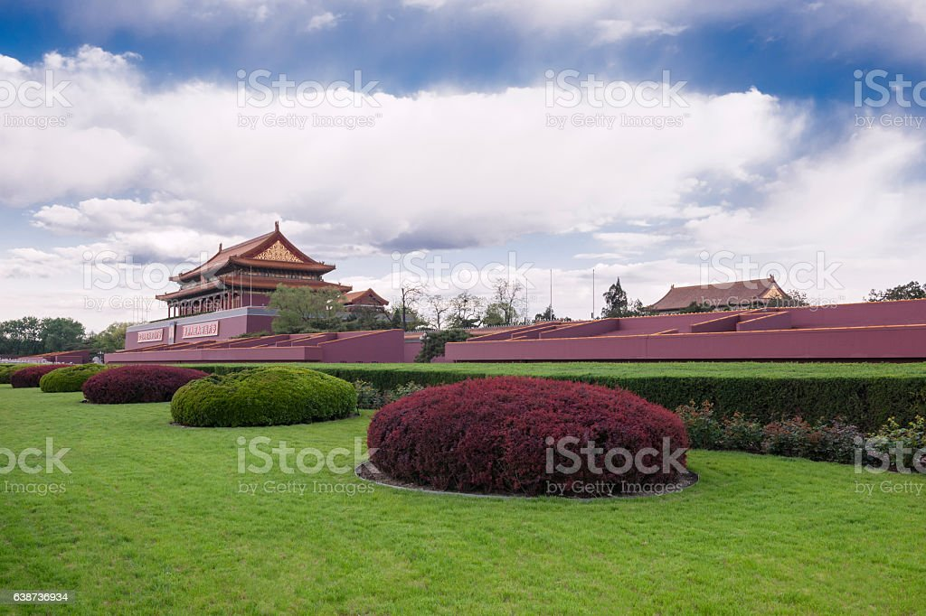 Outside Beijing Tienanmen Gate of Heavenly Peace and Forbidden City stock photo