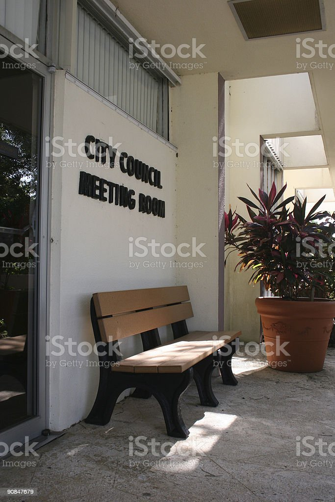 Outside City Council Meeting Room stock photo