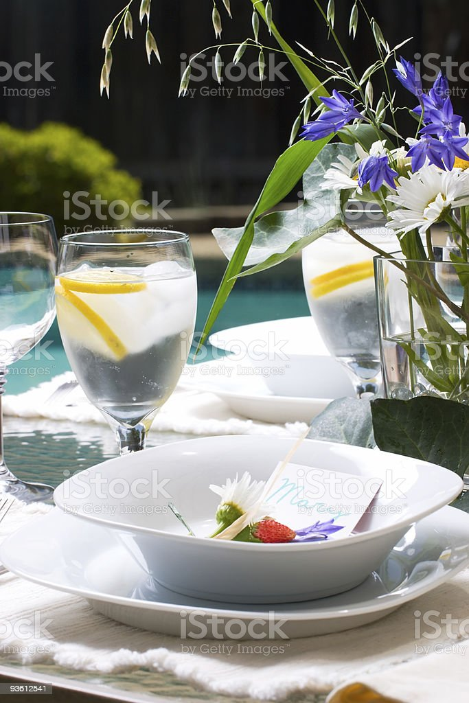 Outside dinner table setting royalty-free stock photo