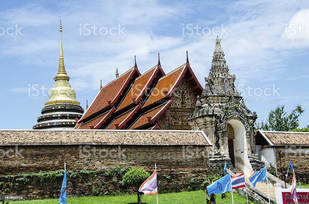 Outside front view of Thai Temple. royalty-free stock photo