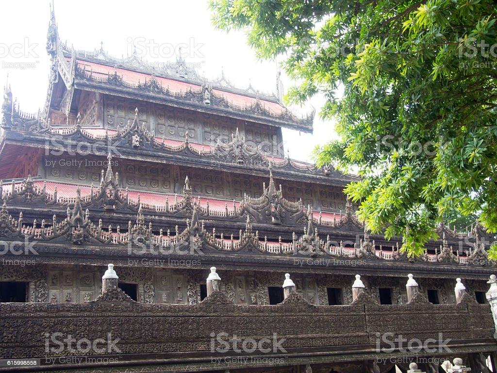 Outside, Golden Monastery, Mandalay, Myanmar stock photo