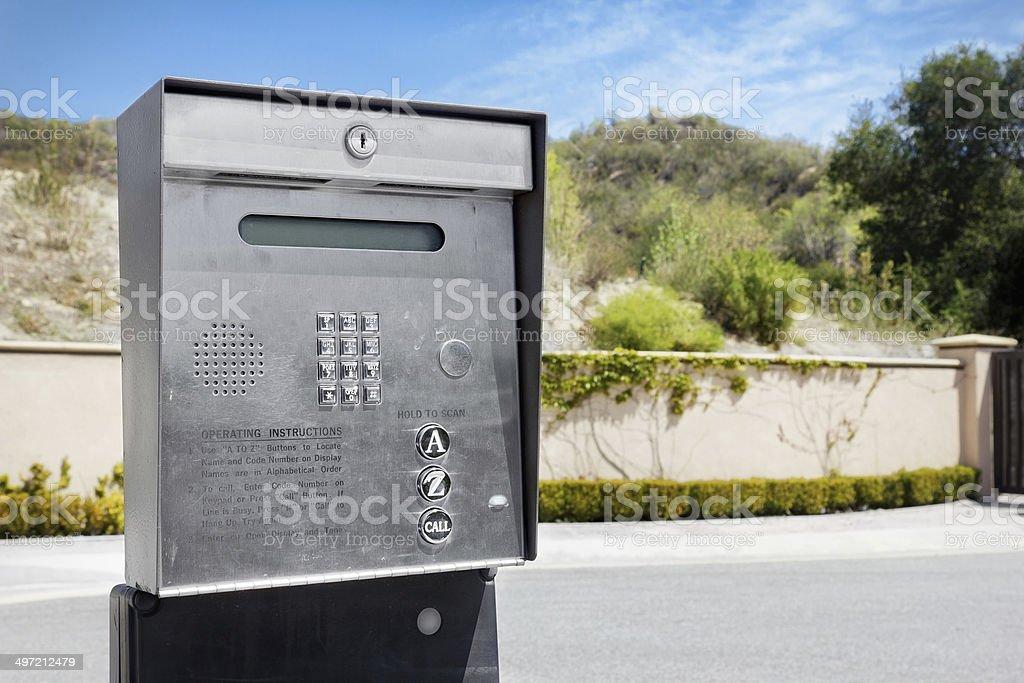 Outside Intercom stock photo