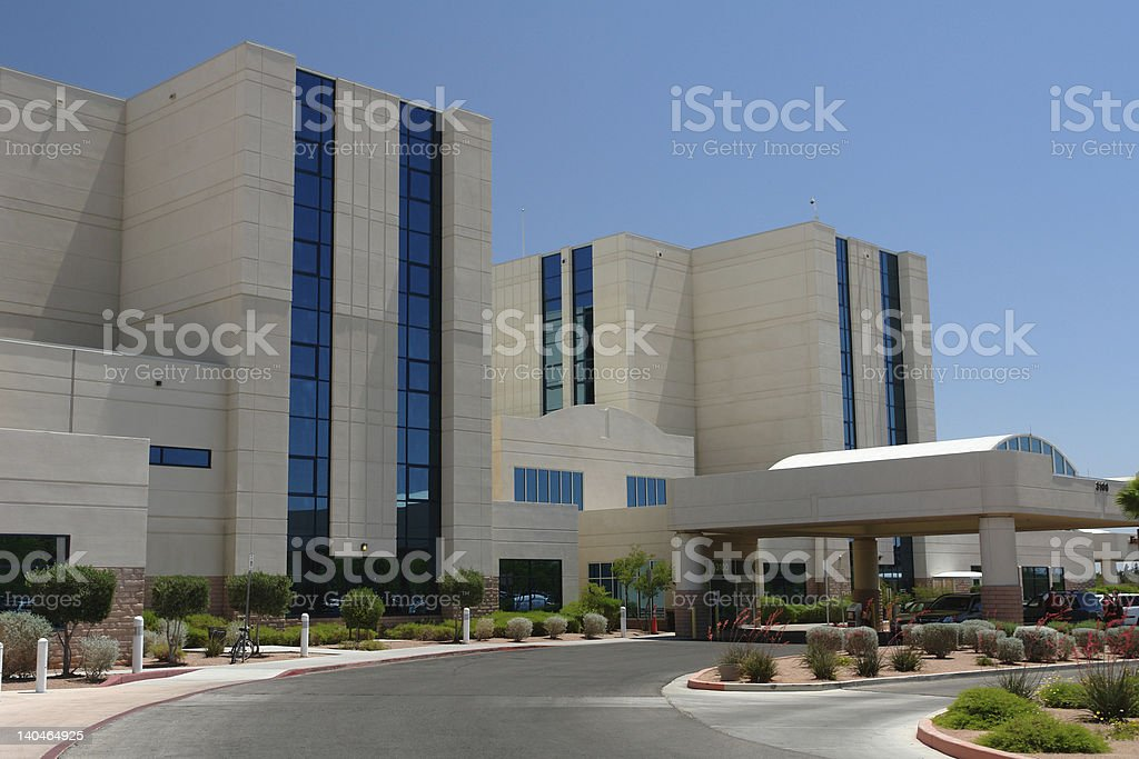 Outside of a hospital building stock photo