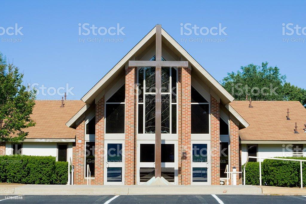 Outside of a Modern Church, Big Cross, Wide Angle Lens stock photo