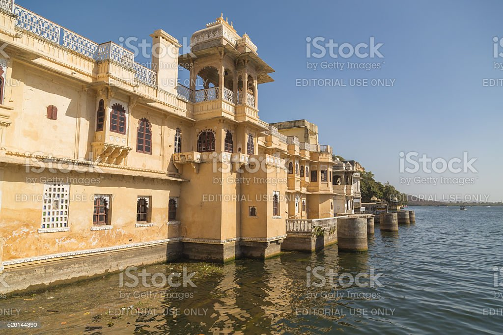 Outside of architecture by the waterfront in Udaipur. stock photo