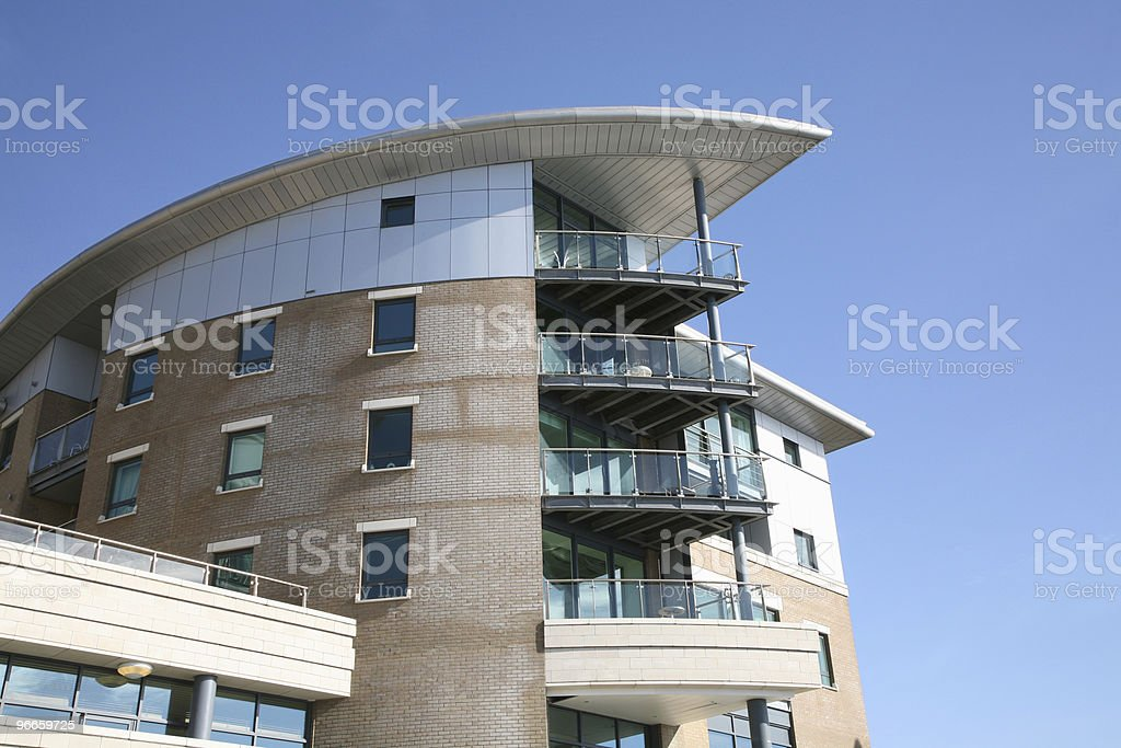 Outside of modern apartment building balconies royalty-free stock photo