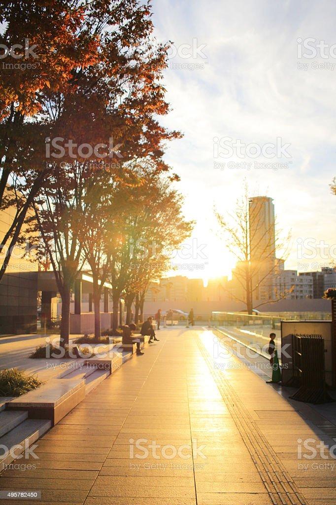 outside of osaka station OFUKACHO area stock photo