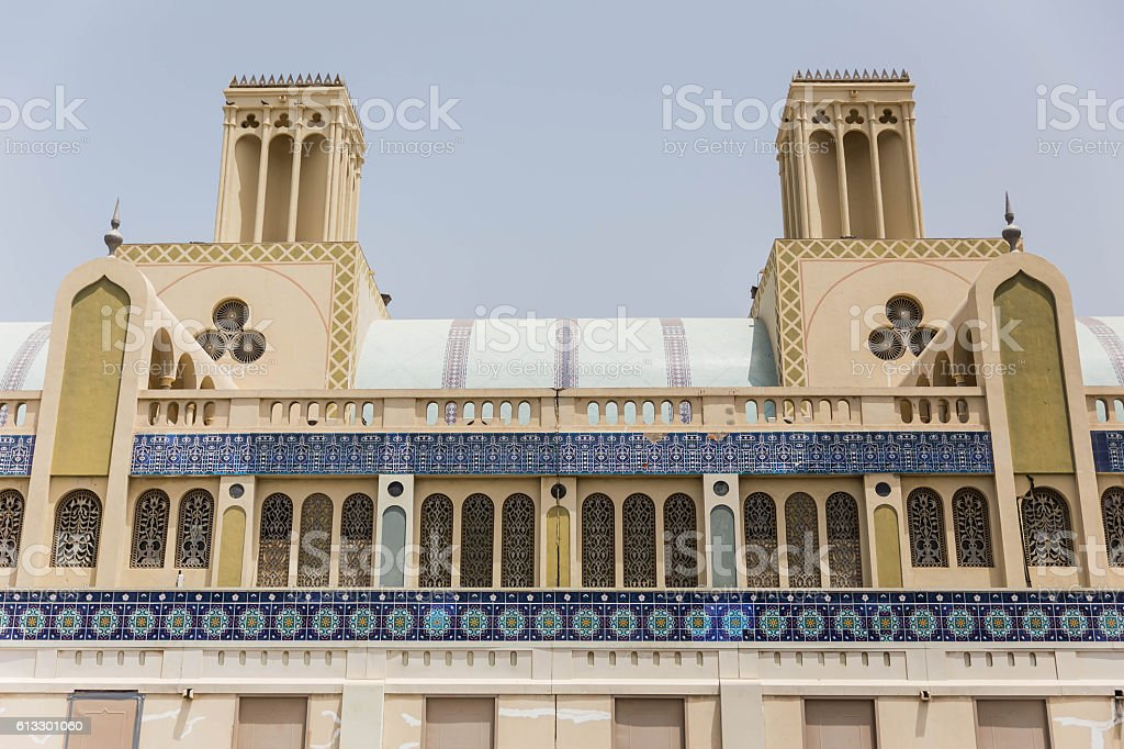 Outside of The Souk with Arabic Decoration at Dubai. stock photo