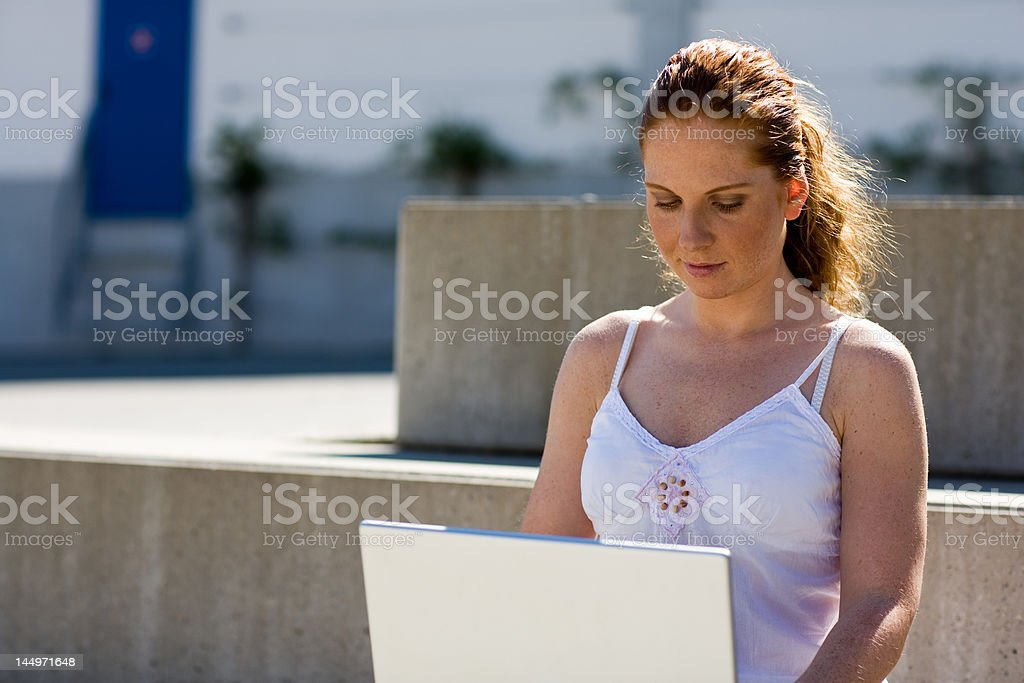 Outside on computer royalty-free stock photo