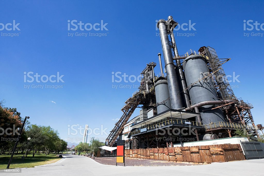 Outside photo of the Parque Fundidora steel museum stock photo