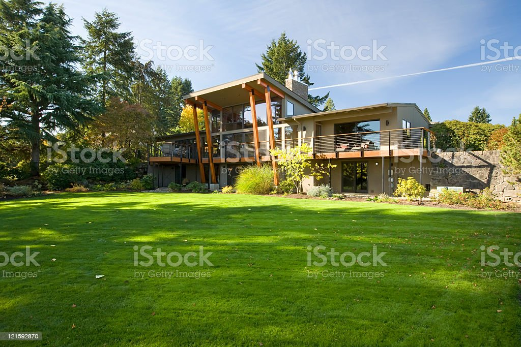 Outside picture of modern upscale home royalty-free stock photo