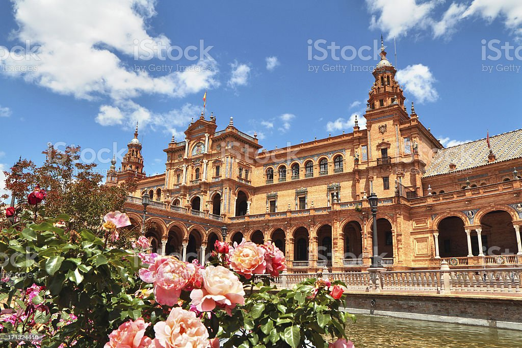 Outside picture of Plaza de Espa in Seville, Spain stock photo