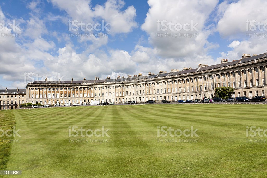 Outside picture of the Royal Cresent stock photo