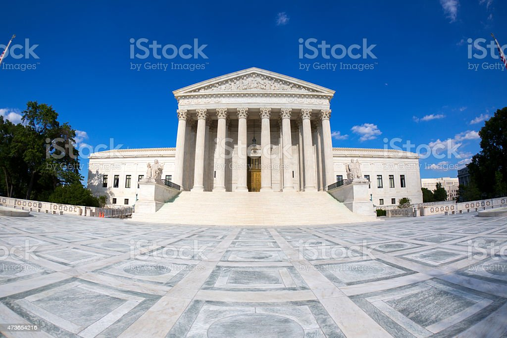 Outside picture of the Supreme Courthouse in Washington DC stock photo