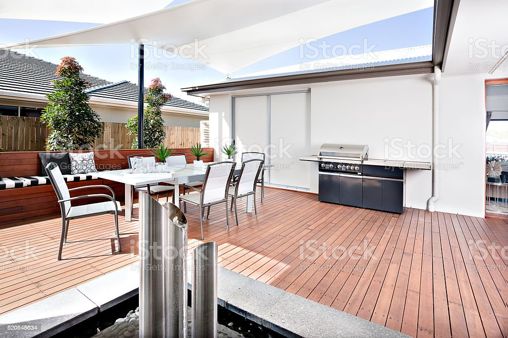 Outside relaxing area of a modern house or hotel stock photo