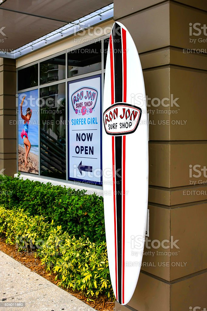 Outside Ron Jon's surf shop in Clearwater, Florida stock photo