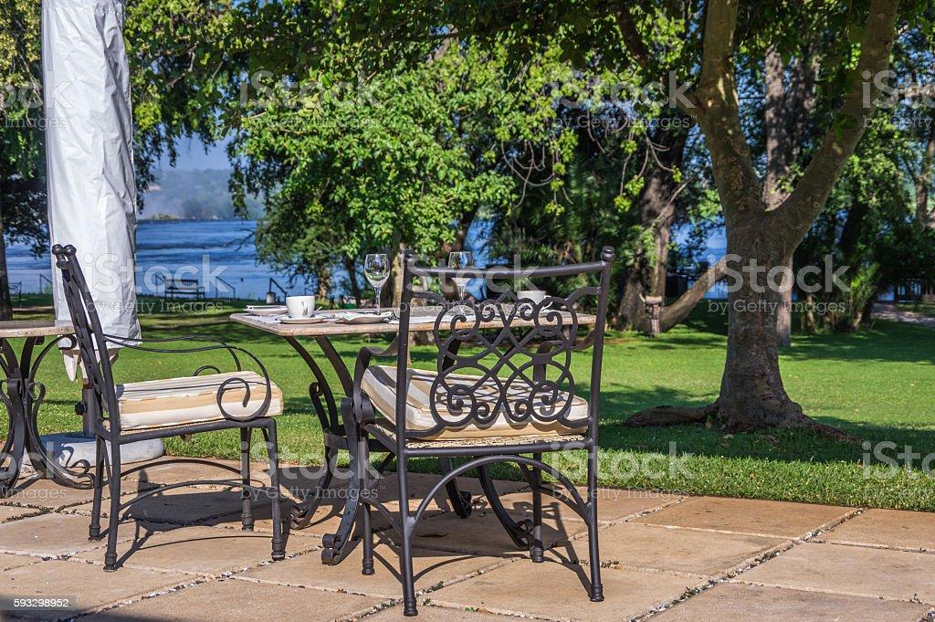Outside Table Setting stock photo