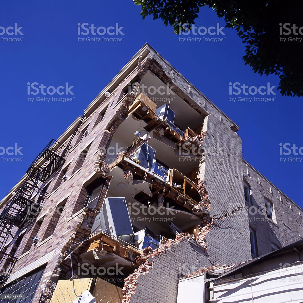 Outside the apartment building after earthquake  stock photo