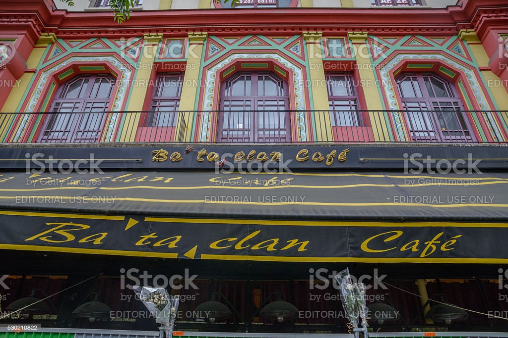 Outside the Bataclan bar in Paris, France stock photo