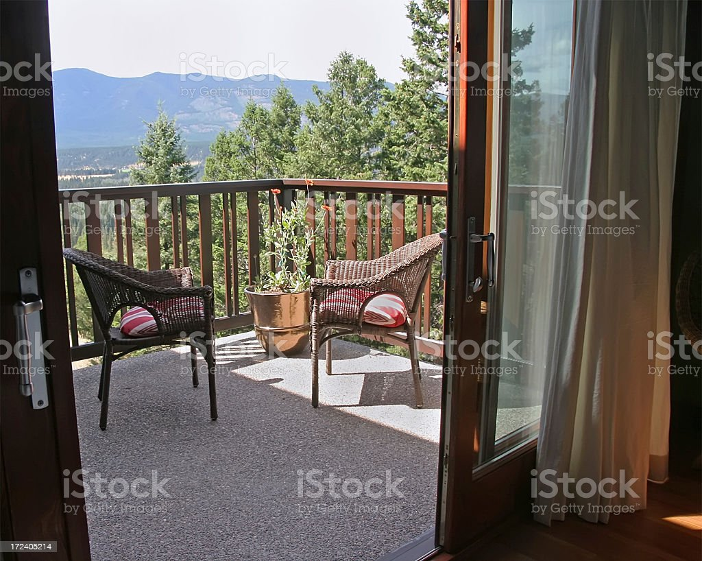 Outside The Bedroom Patio Door stock photo