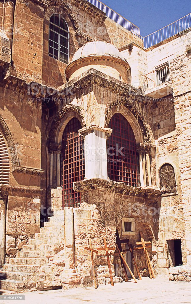 Outside the Church of the Holy Sepulchre stock photo