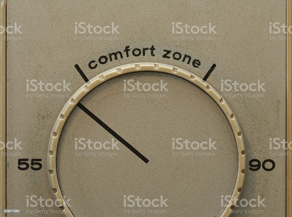 Outside the comfort zone stock photo