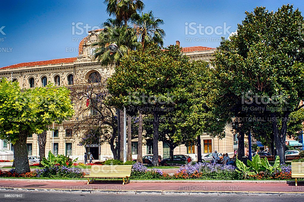 Outside the Hotel de Ville in Cannes, France. stock photo