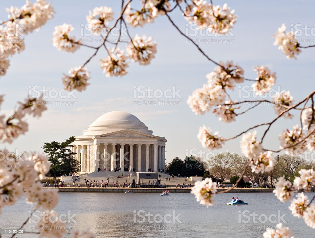 Outside the Jefferson memorial in spring stock photo
