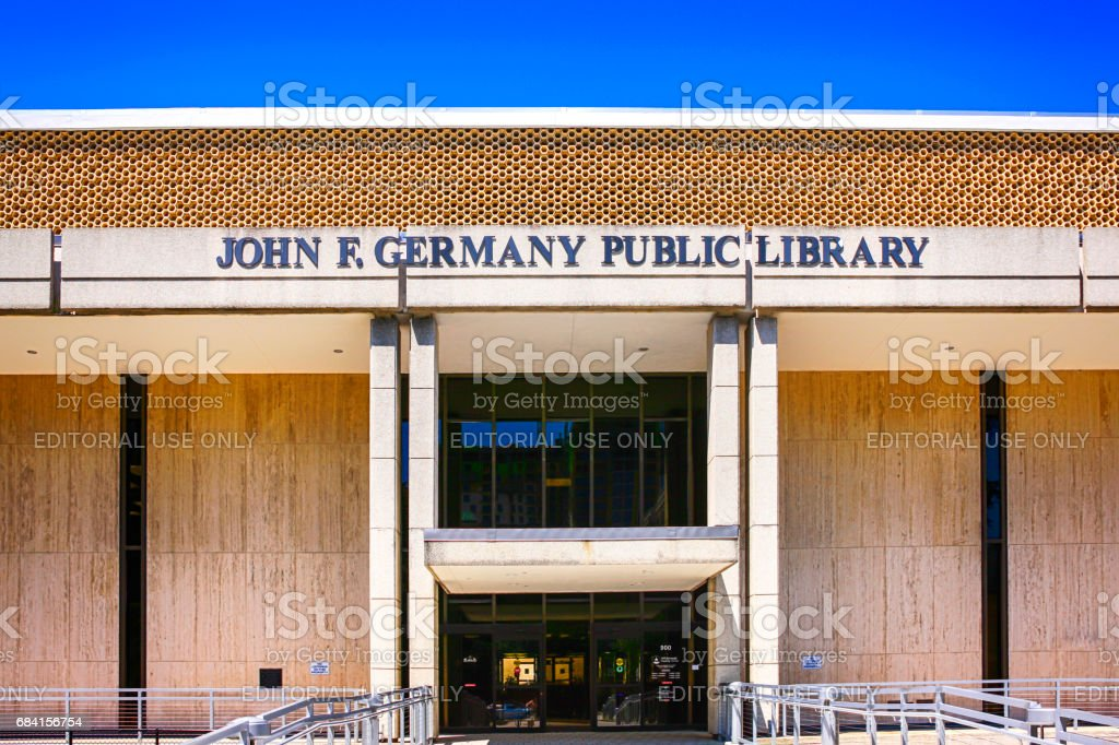 Outside the John E. Germany Public Library building in downtown Tampa, Florida stock photo