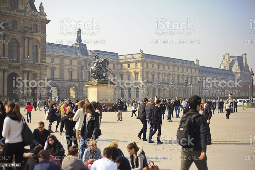 Outside the Louvre stock photo