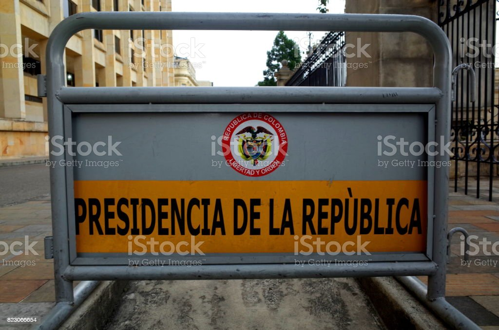 Outside the Presidential Palace in Bogota stock photo