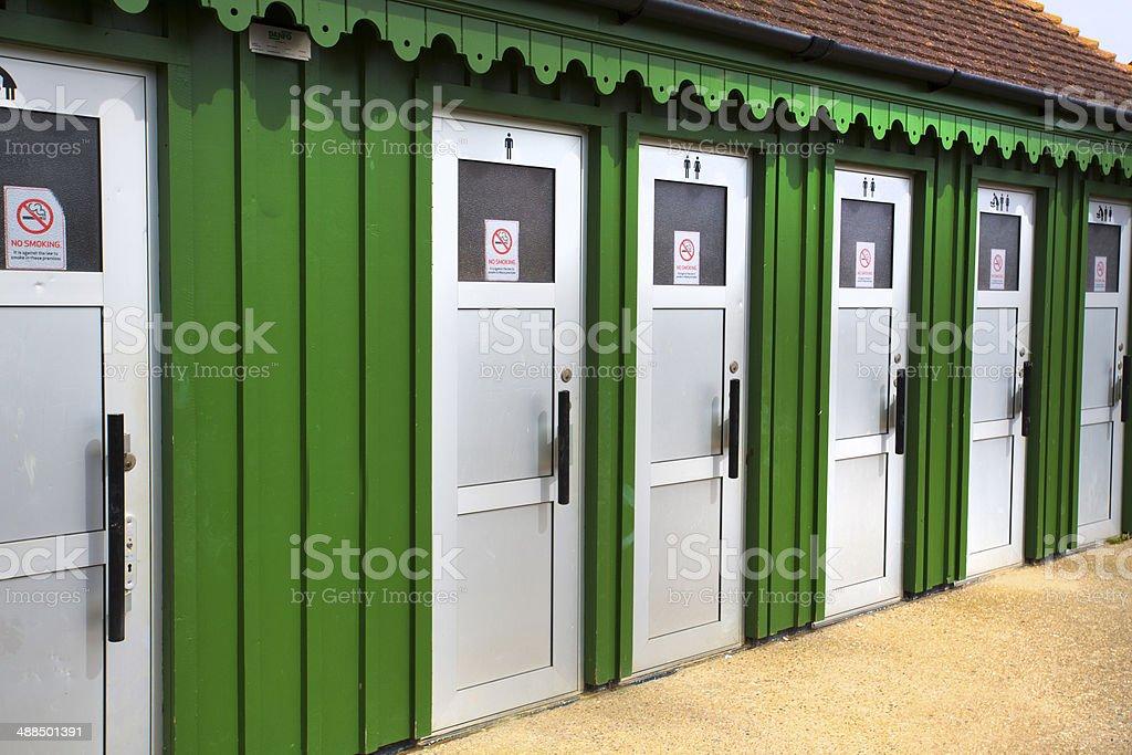outside toilet block building stock photo
