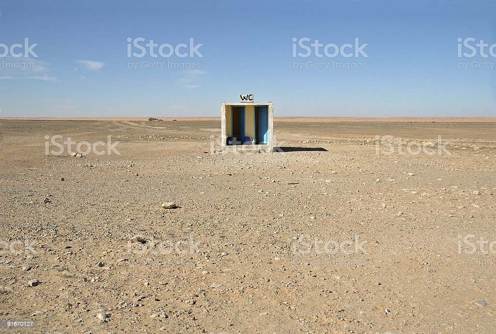 Outside toilet in desert stock photo