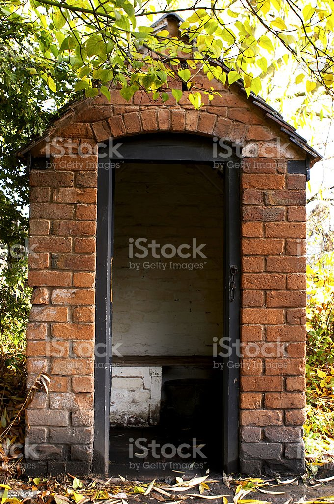 Outside toilet stock photo