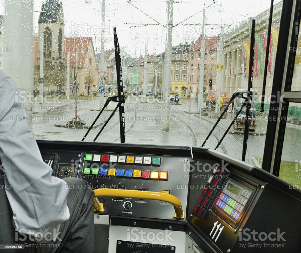 outside view from driver window of a cable car royalty-free stock photo