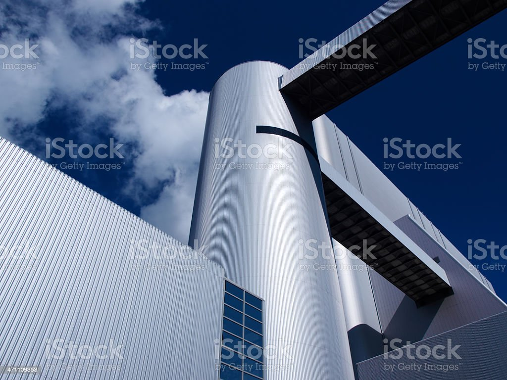 Outside view of a large industrial plant stock photo