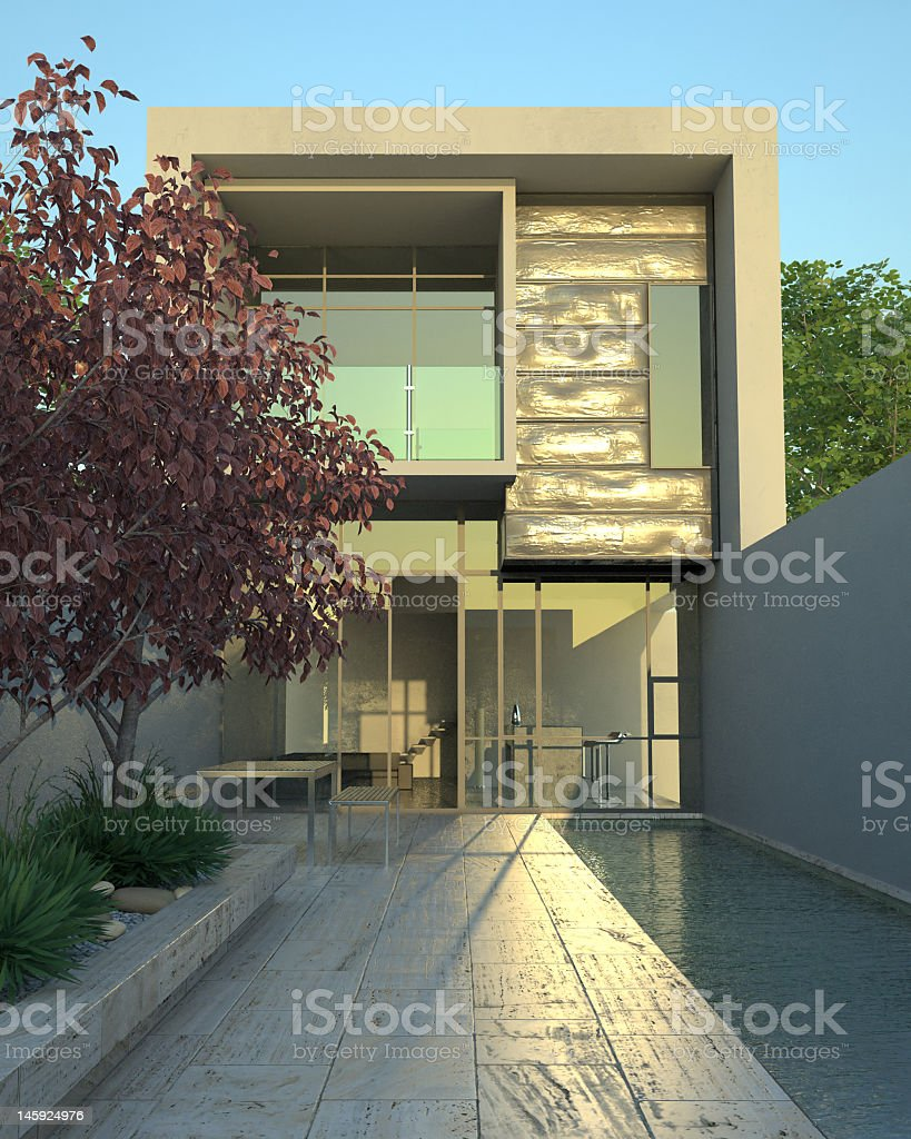 Outside view of a luxury modern home with a pool royalty-free stock photo