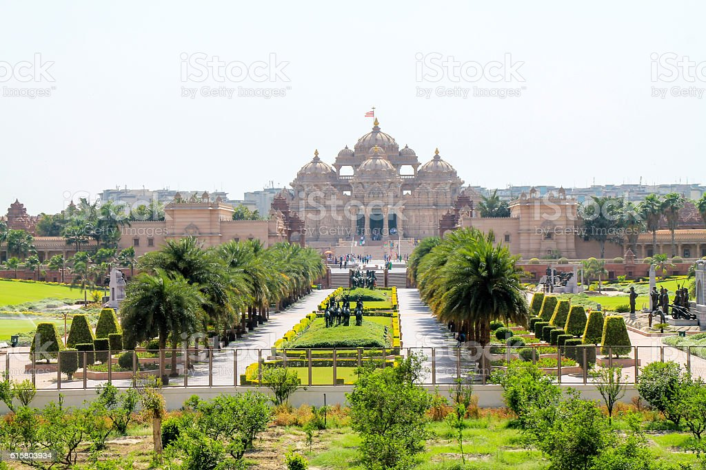 Outside view of Akshardham Palace, Delhi stock photo