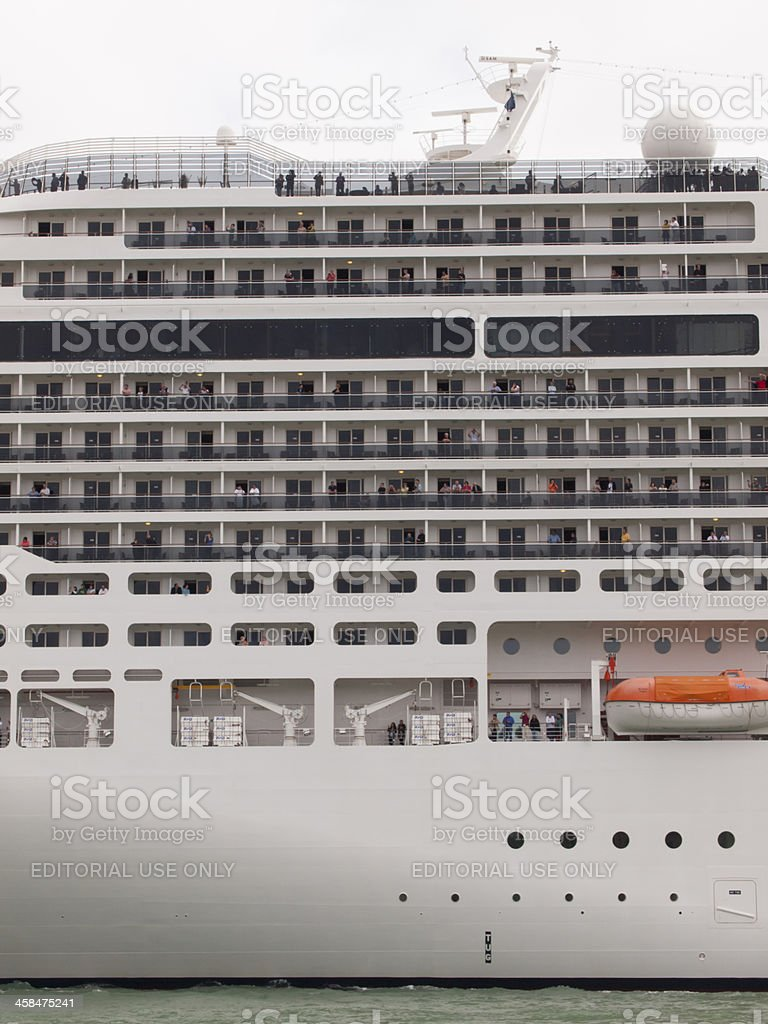 Outside view of cabin windows of huge cruise ship royalty-free stock photo