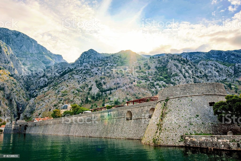 Outside view of Kotor old town stock photo