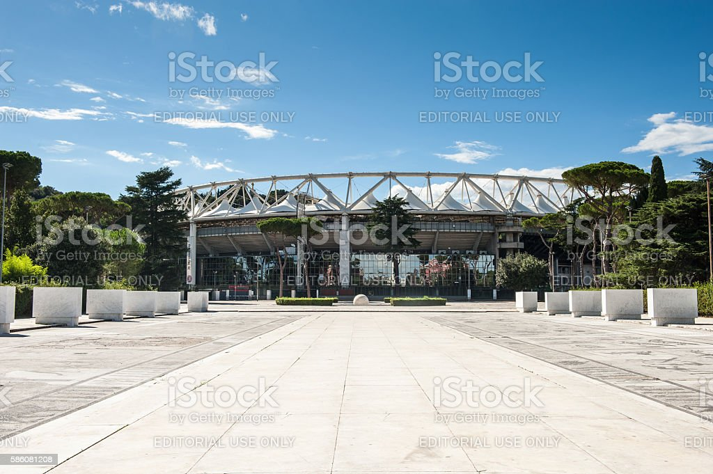 Outside view of Olympic Stadium stock photo