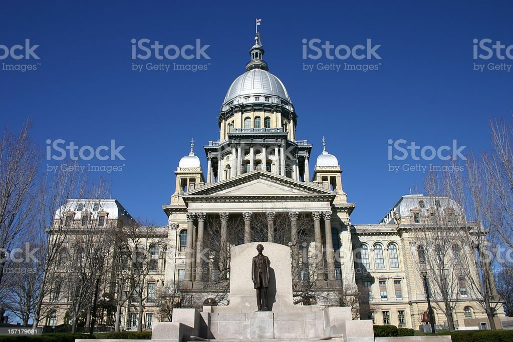 Outside view of the Illinois State Capitol Building stock photo