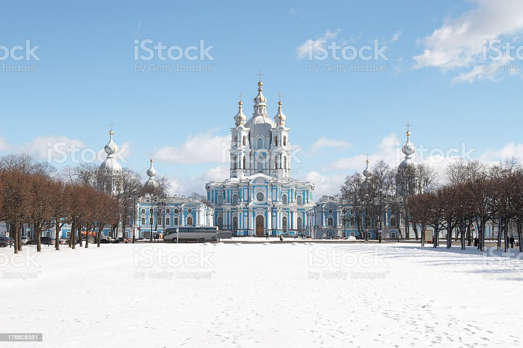 Outside view of the smolny cathedral stock photo