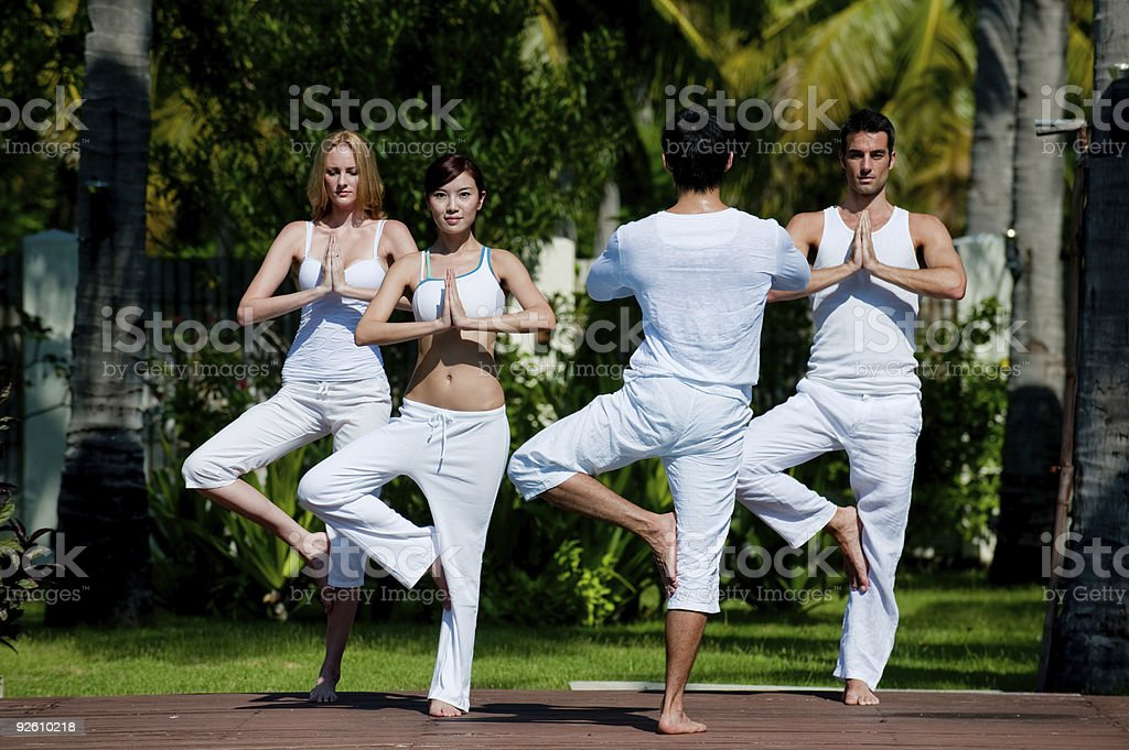 Outside Yoga Class stock photo