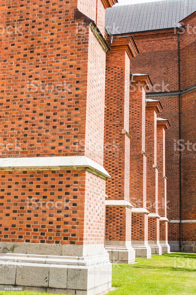 Outside,The famous Uppsala cathedral in Uppsala Sweden stock photo