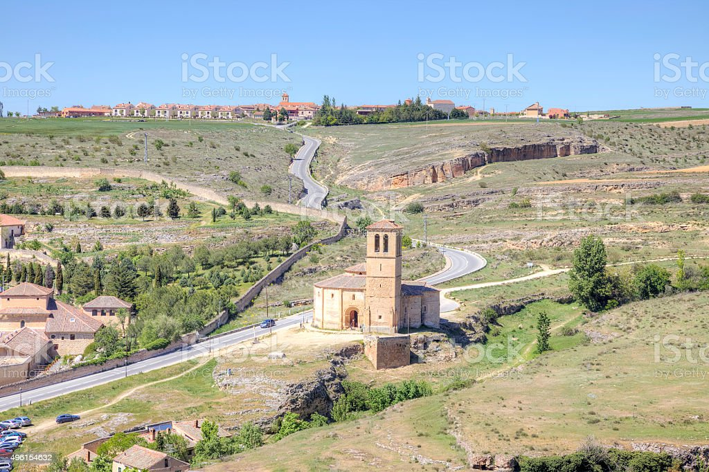 Outskirts city Segovia and temple of the Knights Templar stock photo