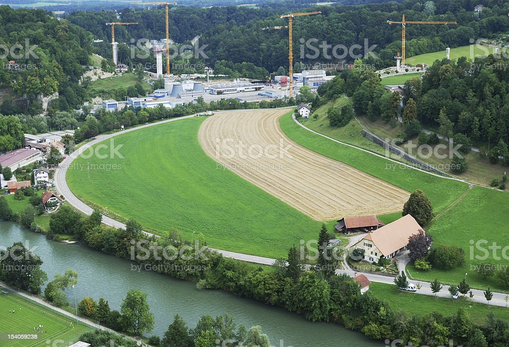 Outskirts of Fribourg from above. stock photo