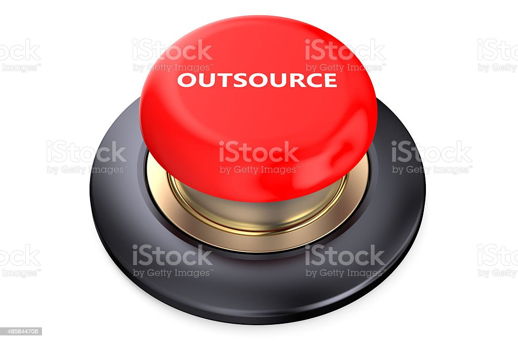 Outsource Red Button stock photo