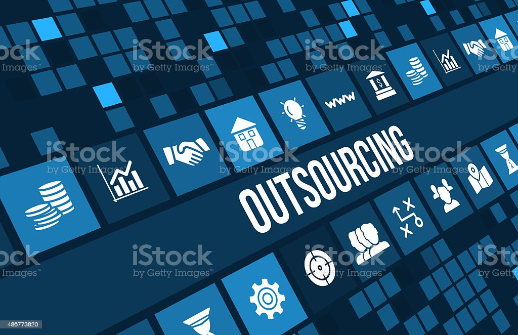Outsourcing concept image with business icons and copyspace. stock photo