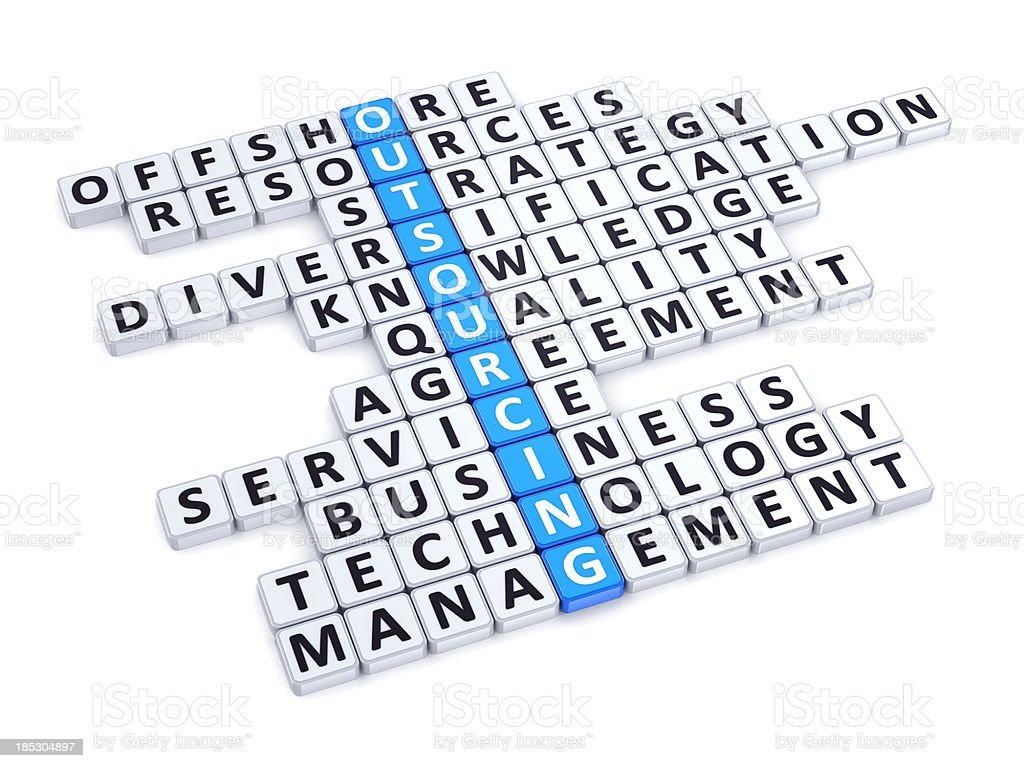 Outsourcing crossword royalty-free stock photo